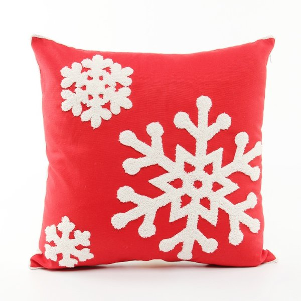 Merry Christmas Snowflakes Embroidered Cushion Cover Embroidery Holiday Cushion Covers Sofa Throw Decorative Cotton Pillow Case Present