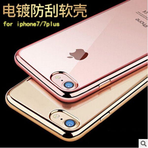 La más nueva moda de lujo de galvanoplastia parachoques ultrafino transparente claro suave TPU Rose Gold Case para iPhone 7 6 6 S Plus 5S SE