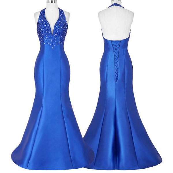 Royal Blue Formal Celebrity Dresses Red Carpet Dress 2019 New Arrival Halter Satin Mermaid Evening prom Gown Vestidos De Festa free shipping