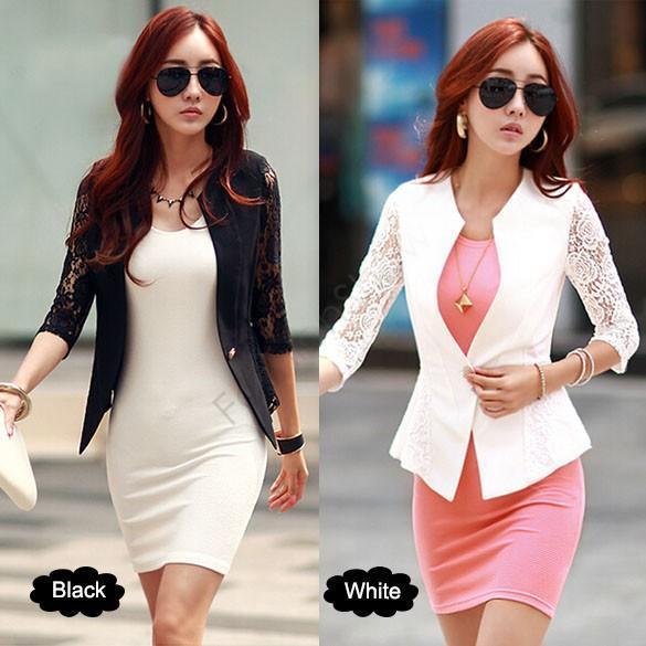 2017 New Fashion Spring Women Jacket Suits Short Design Slim Jackets White Black Lace Sleeve Short Coat For Women Lady Girl 12