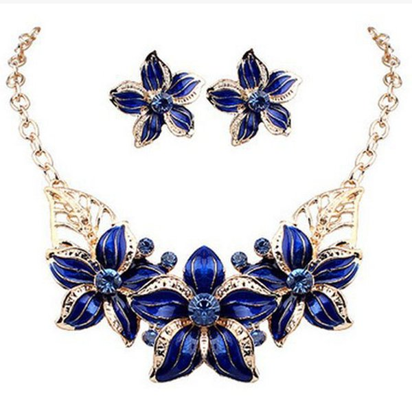 top popular 2017 new arrival Europe and the United States Flower Jewelry Sets Necklace and Earring Set for Women 2020