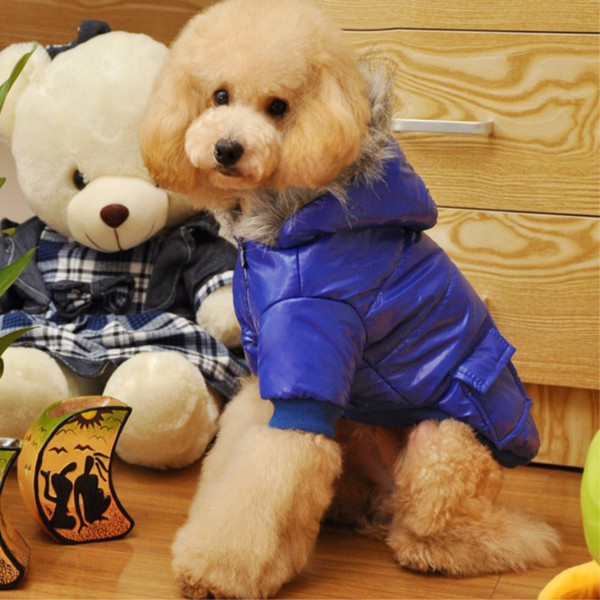 Dog Fancy Coat Warm Winter Dog Sweater Cheap Pet Jumpsuit Hooded Coat Vest Jacket Good Quality 5 Size 4 Color Min Order 25PCS