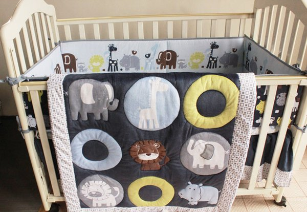 Crib bedding set 7Pcs Embroidery 3D Animals elephants lion Baby bedding set Quilt Bumper bed Skirt Fitted Cot bedding set