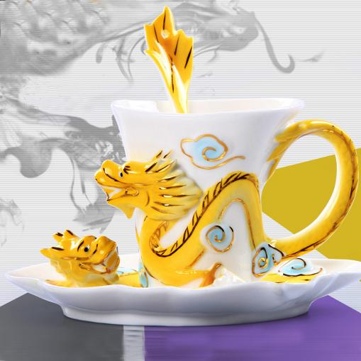 Fine Art Porcelain Ceramic Imperial Dragon Coffee Tea Set Sauce Spoon + Gift Box