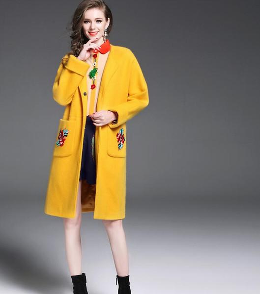 New Outono Inverno Moda Feminina Casacos De Lã Amarelo Das Senhoras de Manga Longa Bordado Sobretudos Wollen Meninas Médio-comprimento Trench Coats