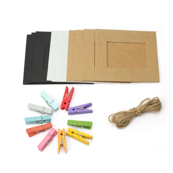 10Pcs Hanging Paper Frame Photo Album String Art Clips Rope Pictures Wall Decor