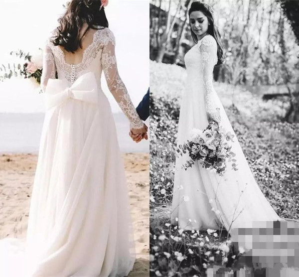 Discount 2018 Vintage Romantic Lace Wedding Dresses Long Sleeves ...
