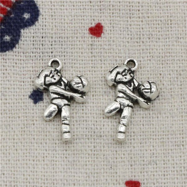 Wholesalecs- 217pcs Charms volleyball palyer 20*12mm Pendant,Vintage Tibetan Silver,For DIY Necklace&Bracelets Jewelry Accessories