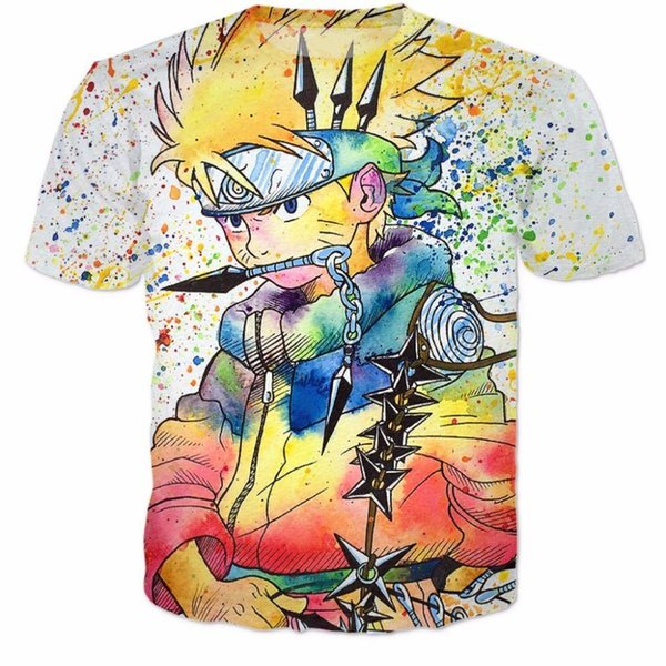 Frauen-Mann-Sommer-Straßen-Hipster 3D T-Shirt Mode-Karikaturt-shirts Klassischer Anime Naruto T-Shirts Uzumaki Naruto T-Shirts Hemden