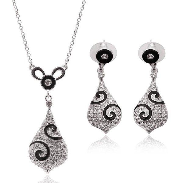 Brand New Crystal Necklace Earrings Sets High Quality Alloy Jewelry For Women Best Gift Min order 5sets Free Shipping 61152217