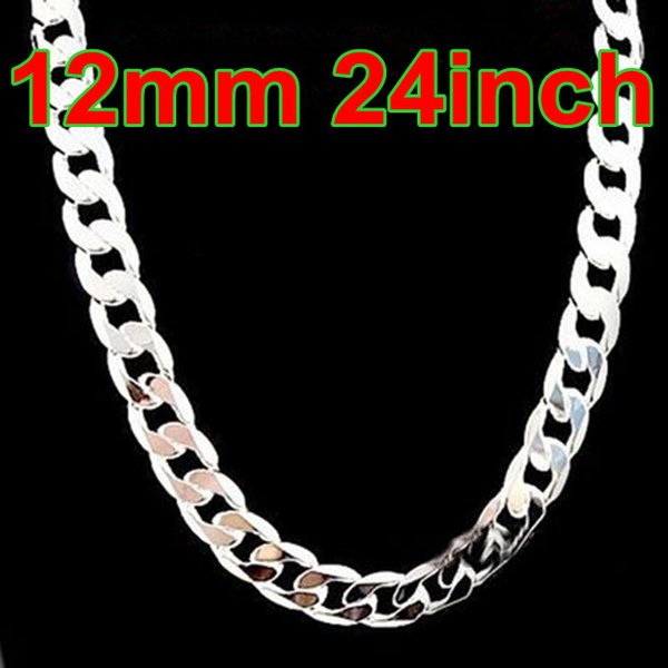 Hot Sale Figaro Chains 925 Silver Curb Men's Chokers Necklace 24inch Width 12mm , Fashion Silver Jewelry Necklaces 10Pcs
