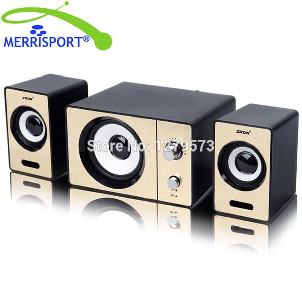 Großhandels-2.1 PC-Lautsprecher mit Doppel-Subwoofer und Control-Box verbindet MP3, PC, Kopfhörer, Spiel, Mikrofon und Gebühren USB-Geräte Gold