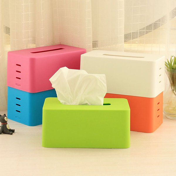 Wholesale- Novelty Useful Plastic Tissue Boxes Lovely Color Napkin Holder for Table Decor Home Dedcor And Car Adjustable Lifting Stepped