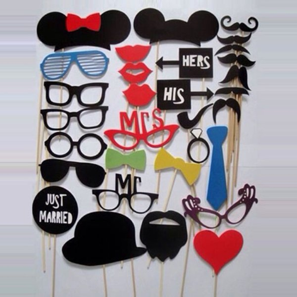 2017 New 31pcs Funny Photo booth props with lips moustaches glasses and sticks party wedding Decorations Prop free shipping