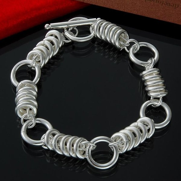Wholesale Jewelry 925 Sterling Silver Interlocking 10mm Circle Chain Bracelet for Women 8""