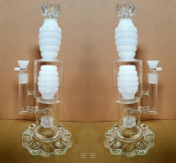 White Glass Bongs With Bowl arm tree and perc Thick Base 38 cm Tall Oil Rigs Glass Bongs Pipes New Arrival Handmade Hookahs