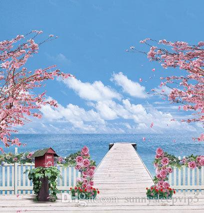 Seaside Long Pier Leading To The Sea Backgrounds Photo Studio Props 5X7ft Vinyl Wedding Children Photography Backdrops