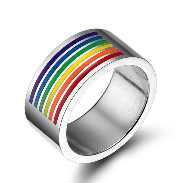 New Fashion Rainbow Ring per Gay Finger Ring Jewellry Accessorio 10mm Large Stainless Steel Ring Arcobaleno Gay Pride Jewelry Manual Lucidatura