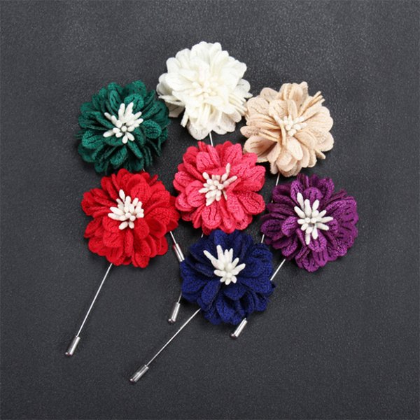 New fashion men brooch flower lapel pin suit boutonniere fabric yarn pins 22 colors button Stick flower brooches for wedding