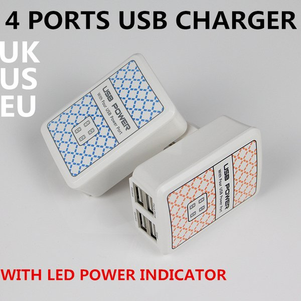 USB Travel Home WALL charger with LED power indicator UK EU US Plug usb power charger adapter for cellphones Tablet ipad free shipping