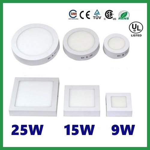 top popular Free shipping 9W 15W 25W Round Square Led Panel Light Surface Mounted Downlight lighting Led ceiling down AC 110-240V + Driver 2019