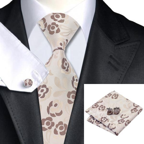 Classic beige Yellow Novelty Mens Tie Necktie Silk Woven Set Wedding Business