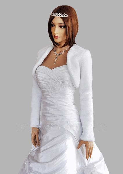 Hot Sale White / Ivory Wedding Jackets With Long Sleeves Faux Fur Cheap Bridal Bolero / Wraps / Shawls / Cape / Coat Wedding Accessories
