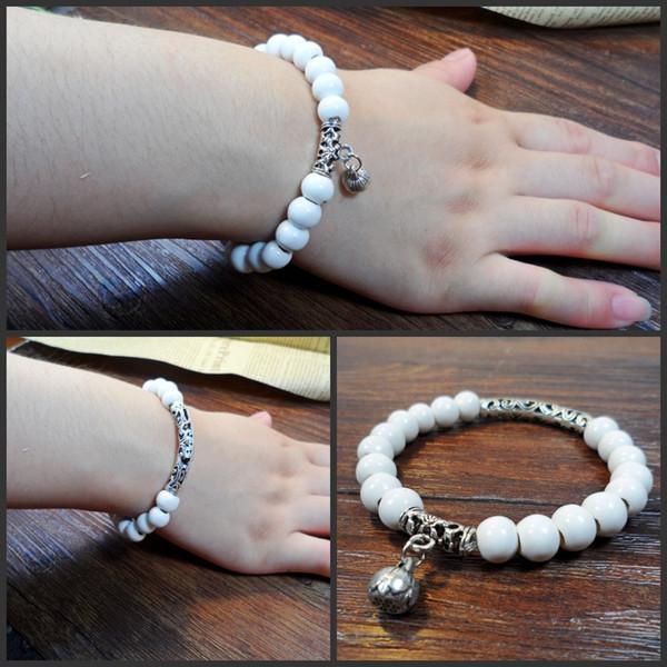 XS pequeña mano pura con cuentas pulsera fresca plateada joyería de cerámica pulseras ocultos adornos accesorios al por mayor