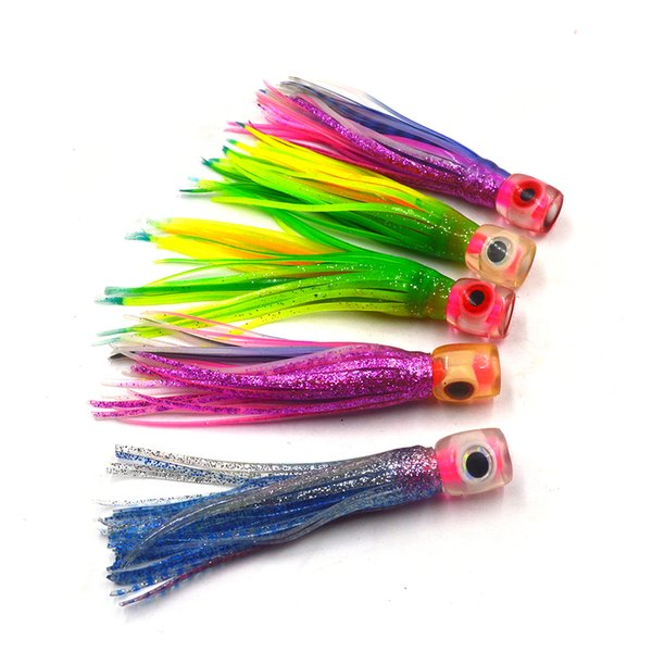5Pcs Random Mixed Color Small Size Soft Head Octopus Skirt Bait Sea Trolling Fishing Lure Salt Water Lures Fish 4.5Inch 13G
