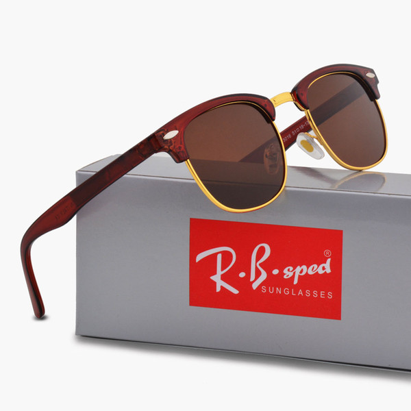 Luxury Brand Designer Polarized Men women Sunglasses Semi-Rimless frame Driving glasses Polarizing Lenses with brown Case and accessories