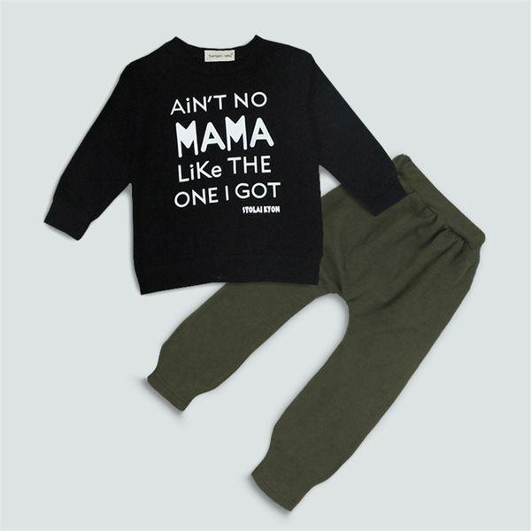 Bebê outono letras de impressão roupas 2 pc set manga longa impressão preta pullover + cor sólida calças de harém crianças roupas de moda para 0-3 T