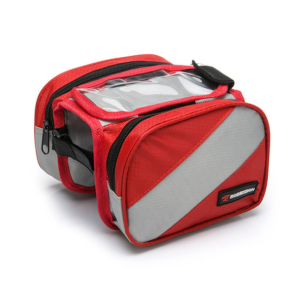 Bicycle Bike Bags Top Front Frame Tube Bag MTB Road Bike Saddle Bag 4.3 Inch Touch Screen Cellphone Double Bag Bike Accessories