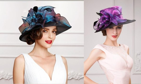 Colored Crystal Purple Blue Eugen Organza Flowers Female Hats 2018 Big Along Sun Wild Leisure Holiday Hat Eelegant Charming