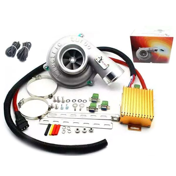 Universal Electric Turbo Supercharger Kit Thrust Motorcycle Electric Turbocharger Air Filter Intake for all car improve speed (Aluminum Fan)