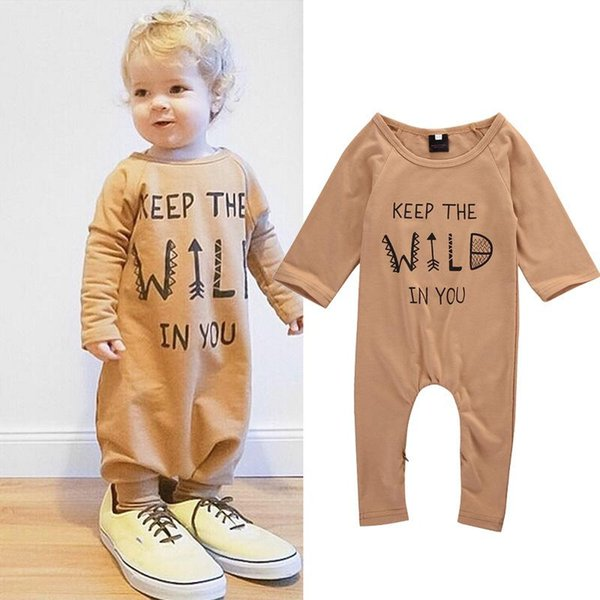 Autumn Winter Baby Romper Newborn Infant Baby Boy Girl Kids light tan Gray Long Romper Jumpsuit Clothes Outfit Fresh Keep Wild in you