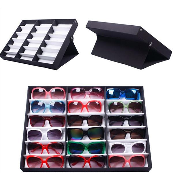 top popular Fashion Sunglass Glasses Optical Frames Tray Bulk Price durable Storage Display Case Box for Eyeglass 18pcs 2021