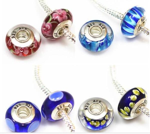 20 pcs DIY acessórios de jóias 925 ALE de prata banhado a miçangas núcleo de murano contas de vidro grande buraco Encantos Bead Para Pulseiras ZHZP001