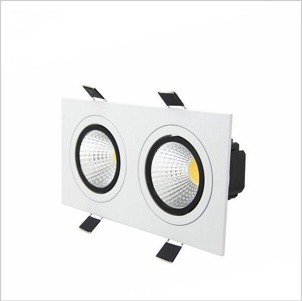 encastré led dimmable Downlight 2 tête carré Downlight COB 10W / 14W / 18W / 24W Plafond de projecteur LED AC85-265V conduit puck lumières