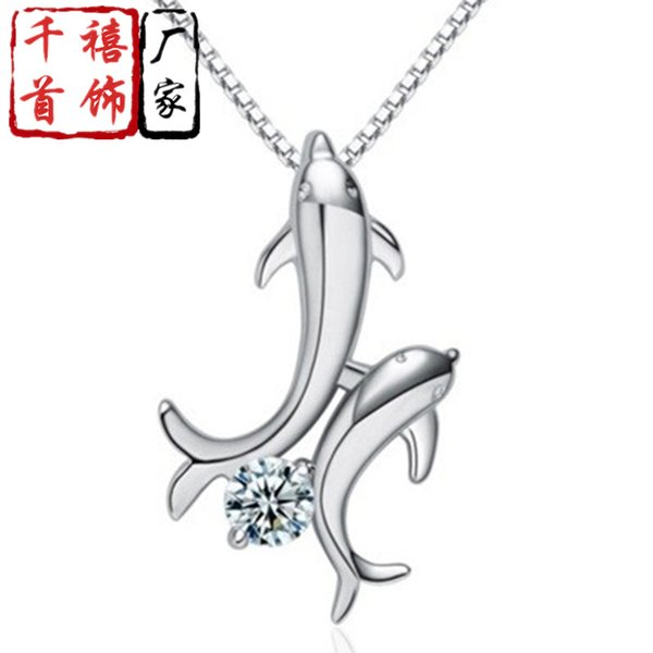 Costume Accessories Christmas Simple Dolphin Crystal a Pendant Necklace Fashion Jewelry Gift Accessories Wholesale Fish All-match