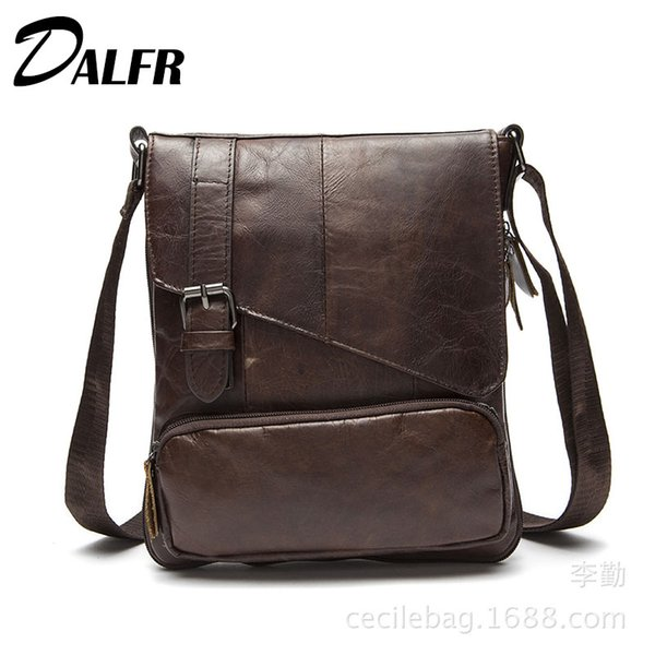 Wholesale- DALFR Cowhide Crossbody Bags 15 Inch Casual Shoulder Bags With Solid Color Genuine Leather Bags for Men