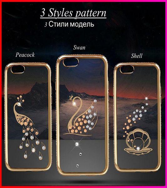 Luxuxbling Rhinestone-Diamant-Kasten für Apple iphone 6 6S 4.7 / für iphone6 plus 5.5 rückseitiges TPU Crystal Clear Überzug-Abdeckung