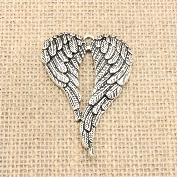 Wholesale 12pcs Charms Tibetan Silver Plated angel wings 67*42mm Pendant for Jewelry DIY Hand Made Fitting