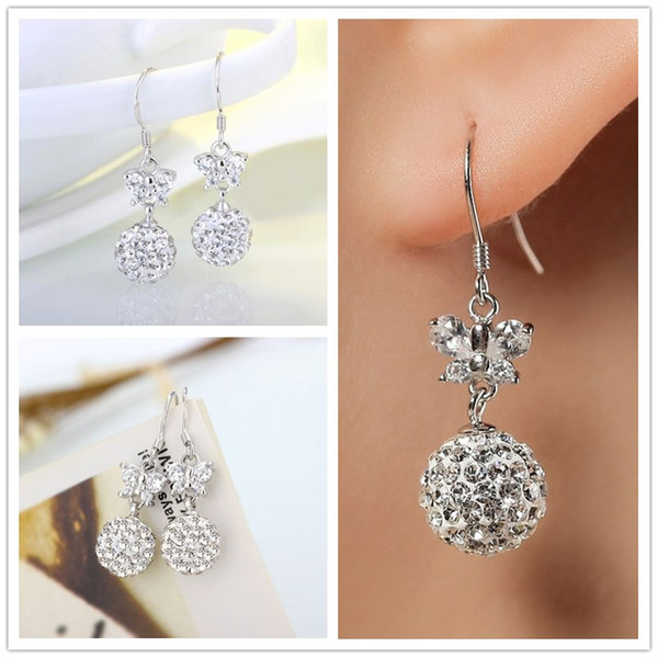 High quality 925 Sterling Silver Plated Shambala Ball Stud Earrings Diamond Crystal disco beads Earings fine Jewelry for women girls EH103