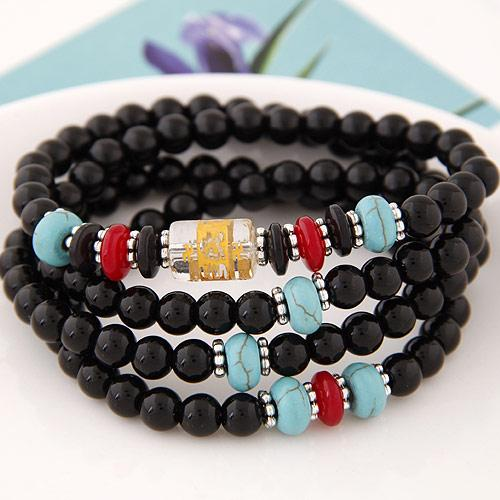 High End Fashion Costume Jewelry Imitation Crystal Round Beads Wrist Accessories Statement Wrap Power Bracelets Bangles For Women Lovers