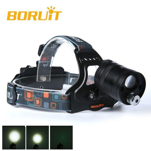 BORUIT Toshiba leitesi (white) green laser LED convex mirror Headlamp Headlight Head Torch rotating zoom 18650 lithium battery