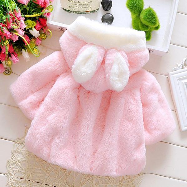 b0bc76d6d Baby Girls Winter Jackets Warm Faux Fur Fleece Coat Children Poncho Rabbit  Ear Hooded Outerwear Kids Jacket For Girls Clothing Easy Kids Poncho ...
