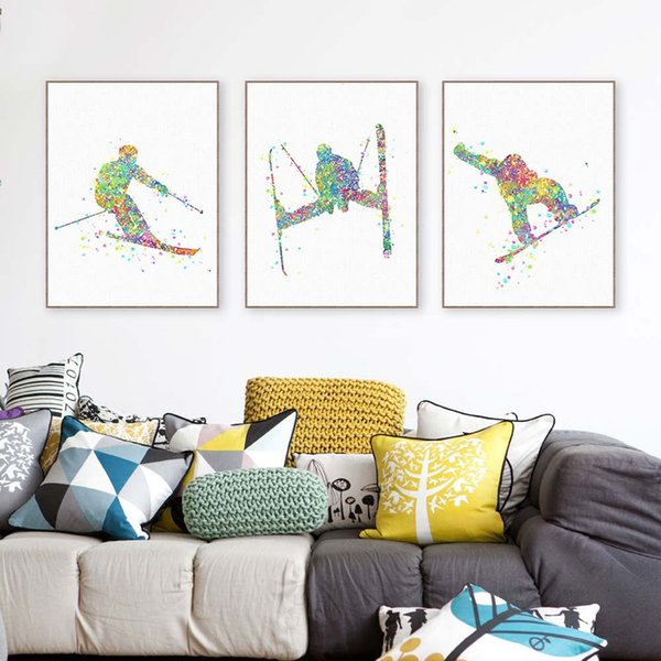 3 Piece Modern Watercolor Skiing A4 Art Print Poster Abstract Sports Man Wall Picture Canvas Painting Living Room Home Deco Gift