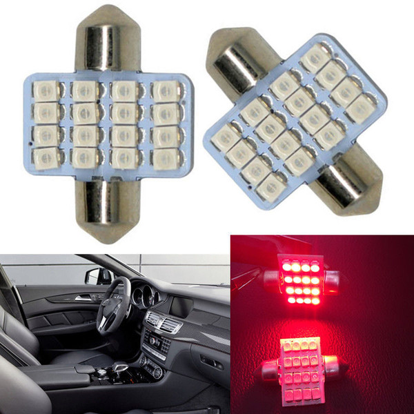 top popular 100pcs Red 31mm 16 SMD 1210 DE3175 LED Lighting bulbs for Car Interior Dome Map Lamps 2021