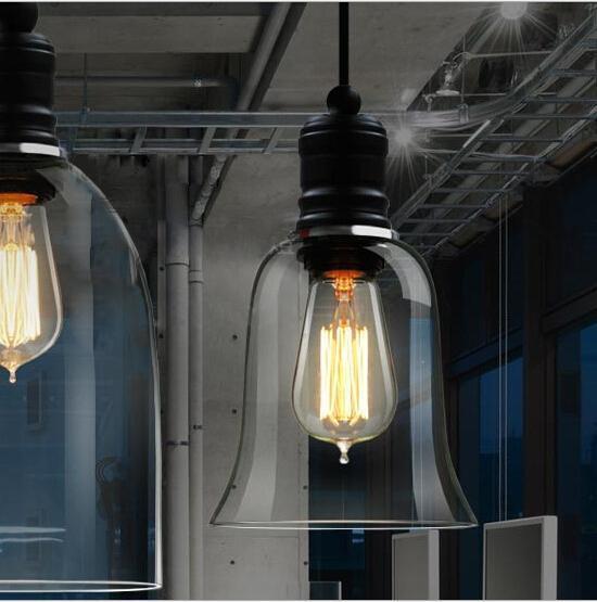 Modern Crystal Bell Glass Pendant Light Retro Industrial Style Pendant Lamp Edison Bulbs E27 Lighting Fixture Bar Dining Room Loft Lamps Copper