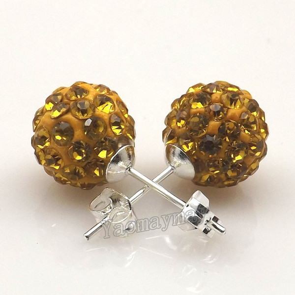 New Arrives 10mm Gold Disco Balls Rhinestone Earring Studs For Holiday 20 Pairs Wholesale Free Shipping